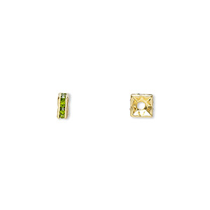 bead, gold-finished brass and rhinestone, peridot green, 4x2mm squaredelle. sold per pkg of 10.
