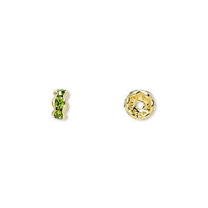 bead, gold-finished brass and rhinestone, peridot green, 5x2mm rondelle. sold per pkg of 10.