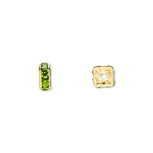 bead, gold-finished brass and rhinestone, peridot green, 6x3mm squaredelle. sold per pkg of 10.