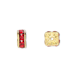 bead, gold-finished brass and rhinestone, red, 8x4mm squaredelle. sold per pkg of 10.