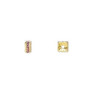 bead, gold-finished brass and rhinestone, rose, 4x2mm squaredelle. sold per pkg of 10.