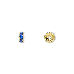 bead, gold-finished brass and rhinestone, sapphire blue, 5x2mm rondelle. sold per pkg of 10.