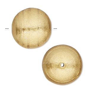 bead, gold-finished copper, 20mm brushed round with swirl design. sold per pkg of 2.