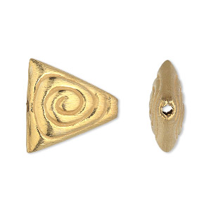 bead, gold-finished copper, 20x20x19mm double-sided brushed puffed triangle with spiral design. sold per pkg of 4.