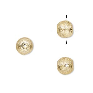 bead, gold-finished copper, 8mm cross-drilled brushed round with lines. sold per pkg of 8.