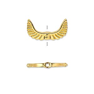 bead, gold-finished pewter (zinc-based alloy), 19x10mm double-sided angel wings. sold per pkg of 20.