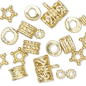 bead, gold-finished pewter (zinc-based alloy), 5x3mm-13x9mm assorted shape with 2-5mm hole. sold per pkg of 20.
