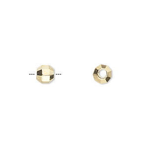 bead, gold-finished pewter (zinc-based alloy), 6mm diamond-cut faceted round with 2.1mm hole. sold per pkg of 10.