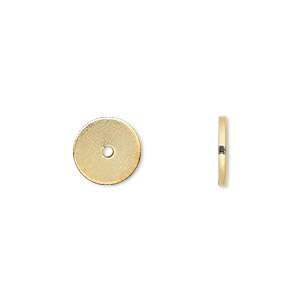 bead, gold-finished steel, 10x1mm smooth heishi. sold per pkg of 100.