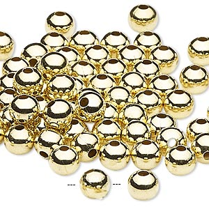 bead, gold-finished steel, 6mm round with 2mm hole. sold per pkg of 500.