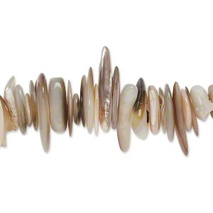 bead, gold lip shell (natural), large chip, mohs hardness 3-1/2. sold per 16-inch strand.