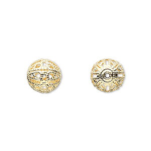 bead, gold-plated brass, 10mm filigree round. sold per pkg of 100.