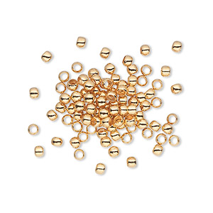 bead, gold-plated brass, 2.5mm micro round. sold per pkg of 100.