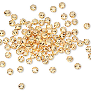 bead, gold-plated brass, 3mm corrugated round. sold per pkg of 1,000.