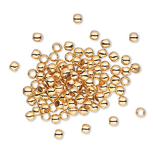 bead, gold-plated brass, 3mm micro round. sold per pkg of 100.