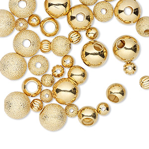 bead, gold-plated brass, 4-8mm assorted round. sold per pkg of 50.