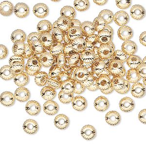 bead, gold-plated brass, 5x3mm corrugated saucer. sold per pkg of 100.