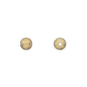 bead, gold-plated brass, 6mm stardust round with 1.7mm hole. sold per pkg of 24.