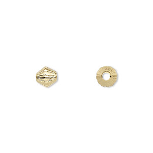 bead, gold-plated brass, 6x6mm corrugated double cone. sold per pkg of 100.