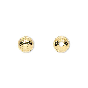 bead, gold-plated brass, 8mm dimpled round with 2.5mm hole. sold per pkg of 10.