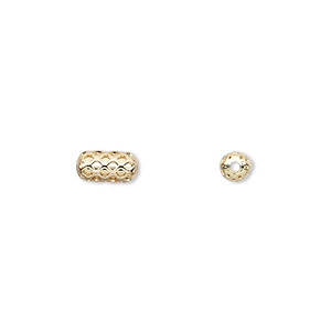 bead, gold-plated brass, 8x4mm weave pattern capsule. sold per pkg of 100.