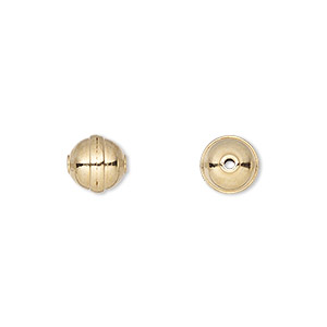 bead, gold-plated carbon steel, 8mm rimmed round. sold per pkg of 20.