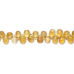 bead, golden citrine (dyed / heated), 5x3mm-6x4mm hand-cut top-drilled faceted teardrop, b grade, mohs hardness 7. sold per 4-inch strand.