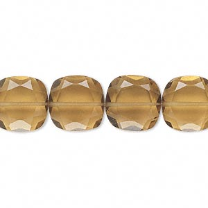 bead, golden quartz (heated), 12x12mm hand-cut faceted puffed square, b grade, mohs hardness 7. sold per pkg of 10.