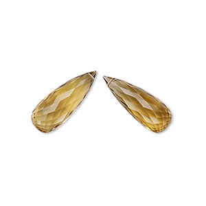 bead, golden quartz (heated), 29x11mm hand-cut top-drilled faceted briolette with 0.4mm-1.4mm hole, a- grade, mohs hardness 7. sold per pkg of 2 beads.