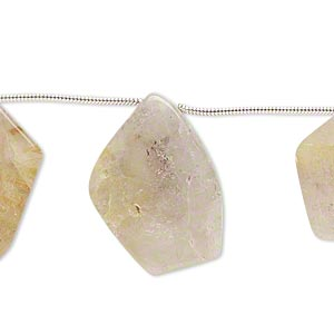 bead, golden rutilated quartz (natural), 20x17mm-28x22mm hand-cut top-drilled flat freeform, c- grade, mohs hardness 7. sold per pkg of 6 beads.