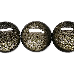bead, golden sheen obsidian (natural), 20mm flat round, a grade, mohs hardness 5 to 5-1/2. sold per 8-inch strand, approximately 10 beads.