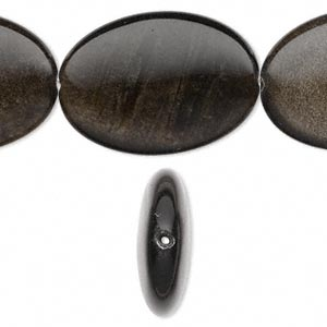 bead, golden sheen obsidian (natural), 35x25mm flat oval, a grade, mohs hardness 5 to 5-1/2. sold per 16-inch strand.