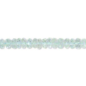 bead, goshenite (dyed), aqua blue, 5x2mm-6x4mm hand-cut faceted rondelle, b grade, mohs hardness 7-1/2 to 8. sold per 14-inch strand.
