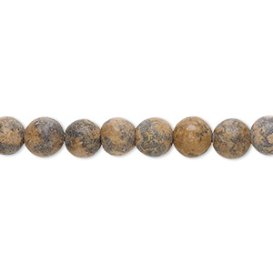 bead, grain stone (natural), matte, 6-7mm round, d grade, mohs hardness 3. sold per 15-inch strand.