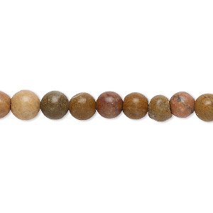 bead, grain stone (natural), matte, 6mm round, d grade, mohs hardness 3. sold per 16-inch strand.