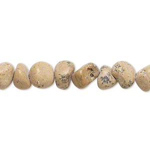 bead, grain stone (natural), small to medium pebble, mohs hardness 3. sold per 15-inch strand.