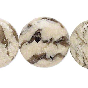 bead, graphic feldspar (natural), 25mm flat round, b grade, mohs hardness 6 to 6-1/2. sold per 8-inch strand.