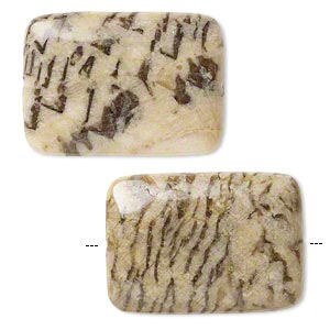 bead, graphic feldspar (natural), 35x25mm puffed rectangle, b grade, mohs hardness 6 to 6-1/2. sold per pkg of 2.