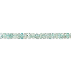 bead, green apatite (natural), 4x1mm-5x3mm hand-cut faceted rondelle, c grade, mohs hardness 5. sold per 13-inch strand.