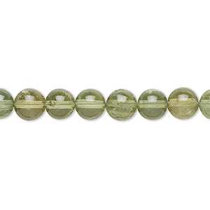 bead, green apatite (natural), mint green, 6mm round with 0.5-1.5mm hole, b+ grade, mohs hardness 5. sold per 8-inch strand, approximately 30 beads.