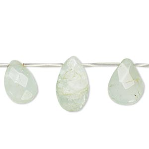 bead, green aquamarine (heated), 12x9mm-17x11mm hand-cut top-drilled faceted puffed teardrop, c- grade, mohs hardness 7-1/2 to 8. sold per pkg of 12 beads.