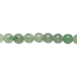 bead, green aventurine (natural), 6-7mm round, c grade, mohs hardness 7. sold per 15-inch strand.
