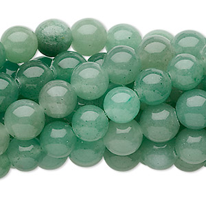 bead, green aventurine (natural), 8mm round, c grade, mohs hardness 7. sold per pkg of (10) 16-inch strands.