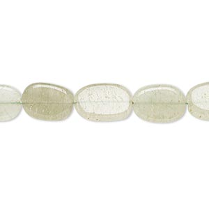 bead, green aventurine (natural), light, 10x8mm-14x9mm hand-cut flat oval, c- grade, mohs hardness 7. sold per 12-inch strand.