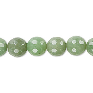 bead, green aventurine (natural), light to medium, 10mm faceted round, b grade, mohs hardness 7. sold per 16-inch strand.