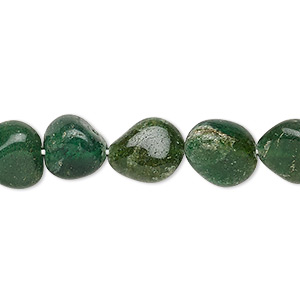 bead, green aventurine (natural), medium to dark, mini to small hand-cut tumbled nugget, mohs hardness 7. sold per 16-inch strand.