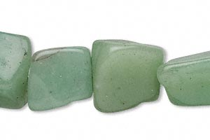 bead, green aventurine (natural), small to medium nugget, mohs hardness 7. sold per 16-inch strand.