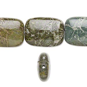 bead, green brecciated jasper (natural), 20x15mm rectangle, b- grade, mohs hardness 6-1/2 to 7. sold per 16-inch strand.