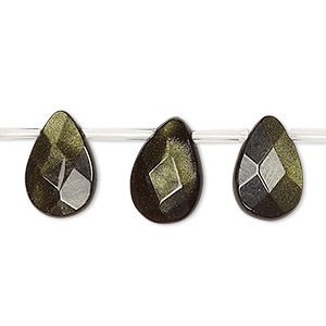 bead, green goldstone (man-made), 14x10mm top-drilled faceted flat teardrop. sold per 16-inch strand.