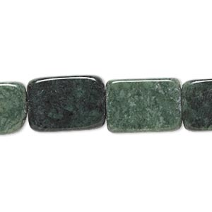 bead, green jasper (natural), 15x10mm-19x15mm rounded flat rectangle, c grade, mohs hardness 6-1/2 to 7. sold per 15-inch strand.